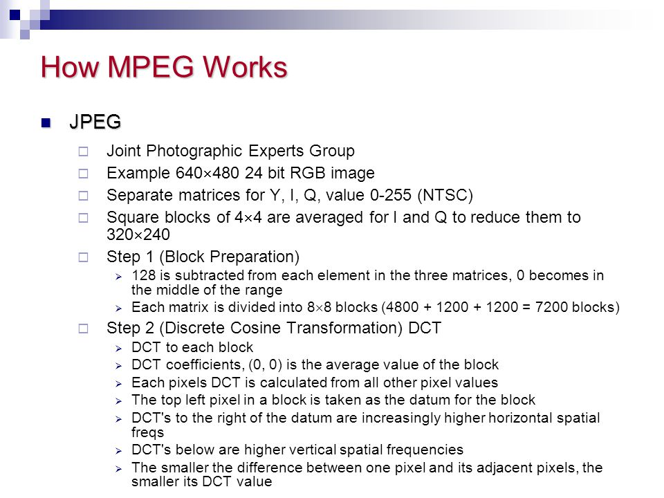 How MPEG Works JPEG Joint Photographic Experts Group