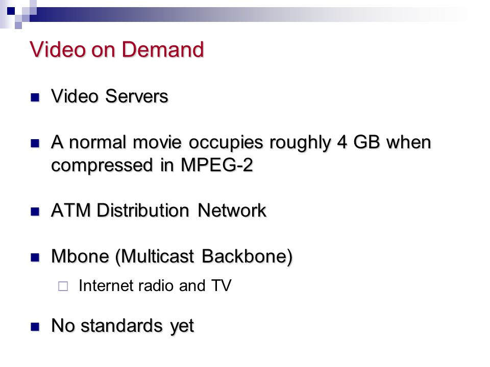 Video on Demand Video Servers