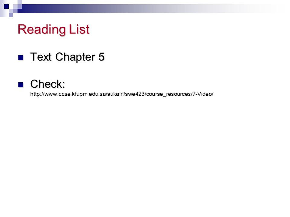 Reading List Text Chapter 5