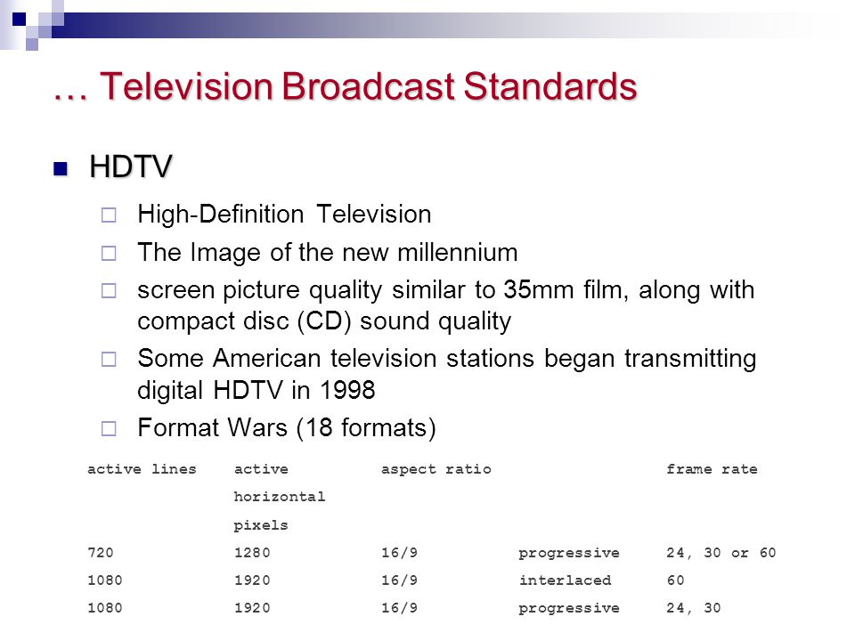 … Television Broadcast Standards