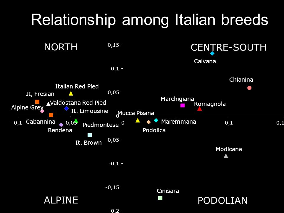 Relationship among Italian breeds