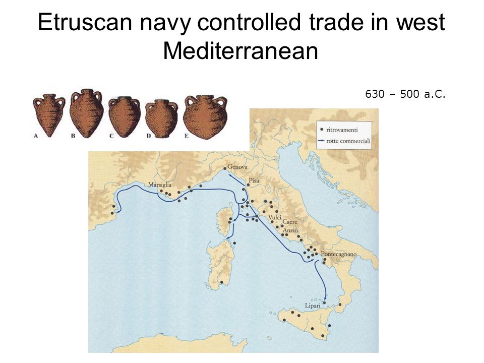 Etruscan navy controlled trade in west Mediterranean