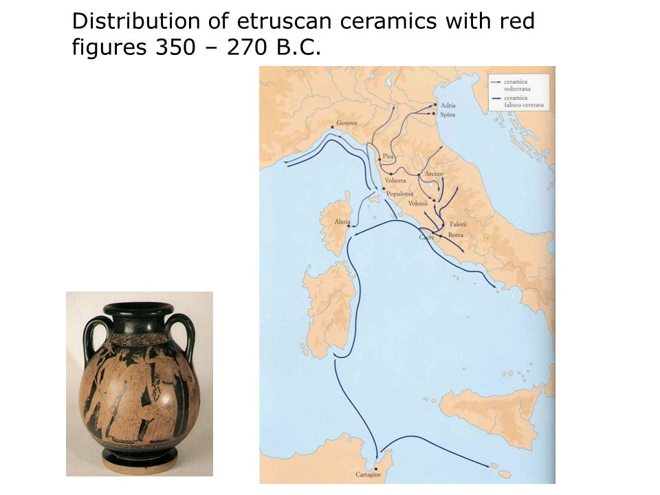 Distribution of etruscan ceramics with red figures 350 – 270 B.C.