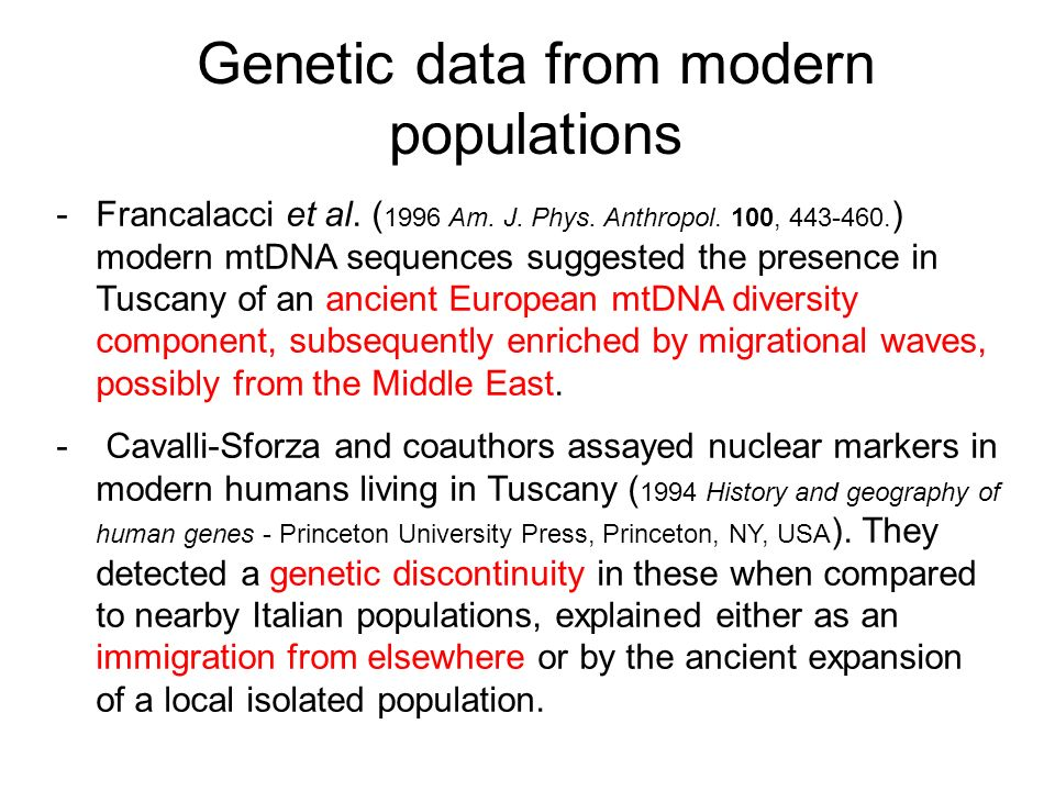 Genetic data from modern populations