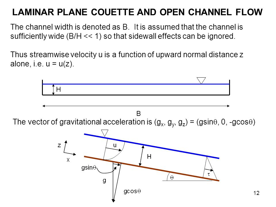 LAMINAR PLANE COUETTE AND OPEN CHANNEL FLOW