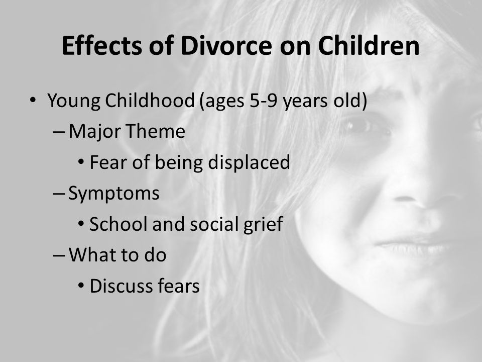 an analysis of the effects of the divorce on young children Effects of parental separation and divorce on very young children  single motherhood on infants and very young children effects of divorce on children  their meta-analysis that younger .