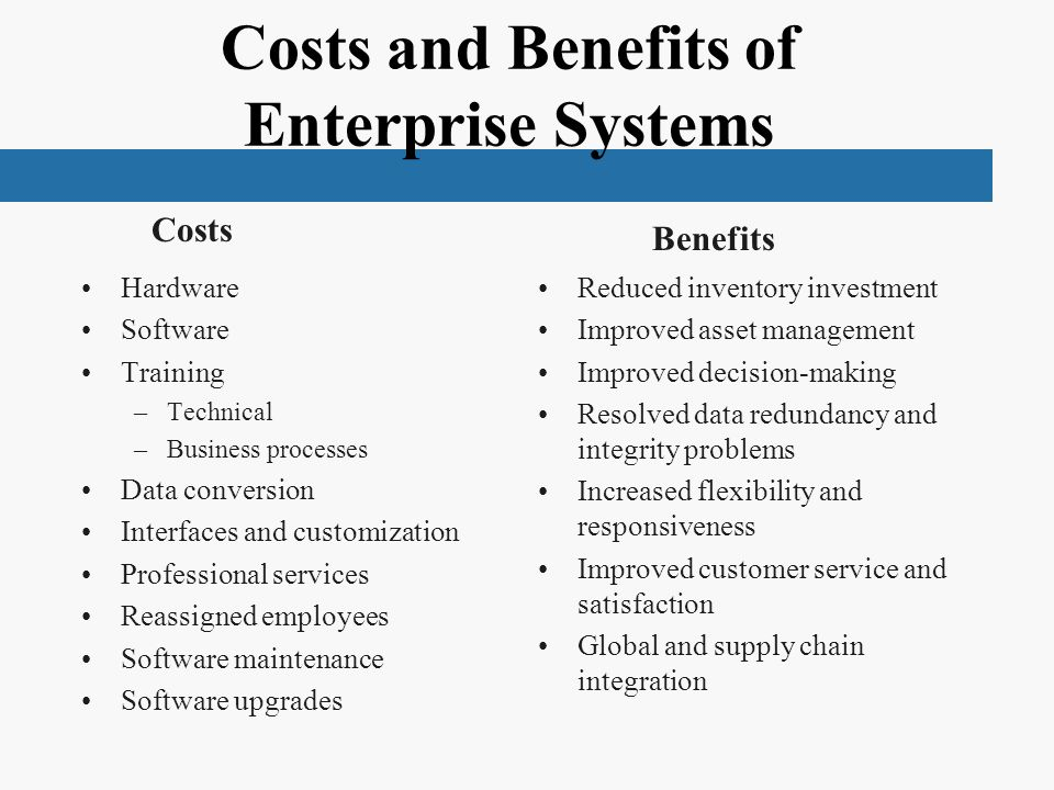 benefits of using enterprise systems Measuring the business success of enterprise systems projects jones, richard ( 2016) measuring the business success of enterprise systems projects.