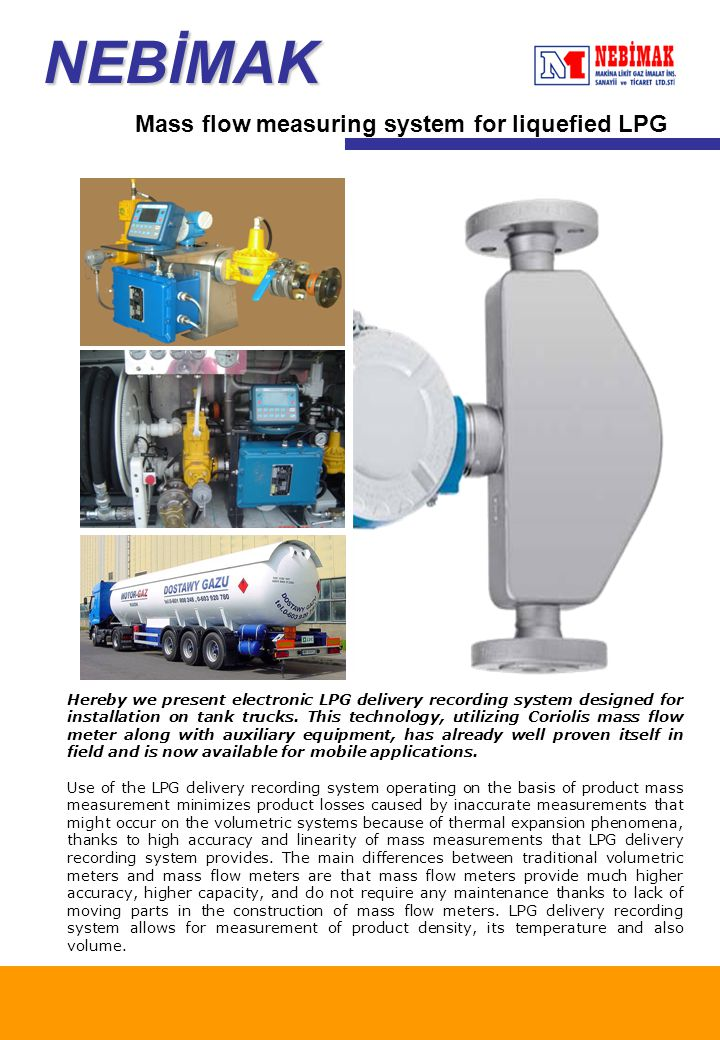 Nebİmak mass flow measuring system for liquefied lpg ppt