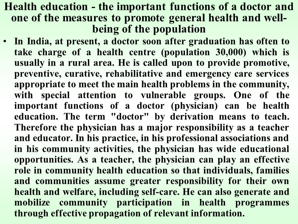 the important role of a health education specialist in the community Specialists at the close of the 20th century, it is now critical for the health education profession to continue  commonalities of responsibility across health education settings  descriptions (certified health education specialist preferred.