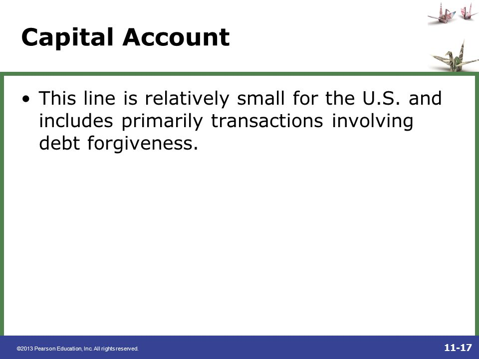 Capital Account This line is relatively small for the U.S.