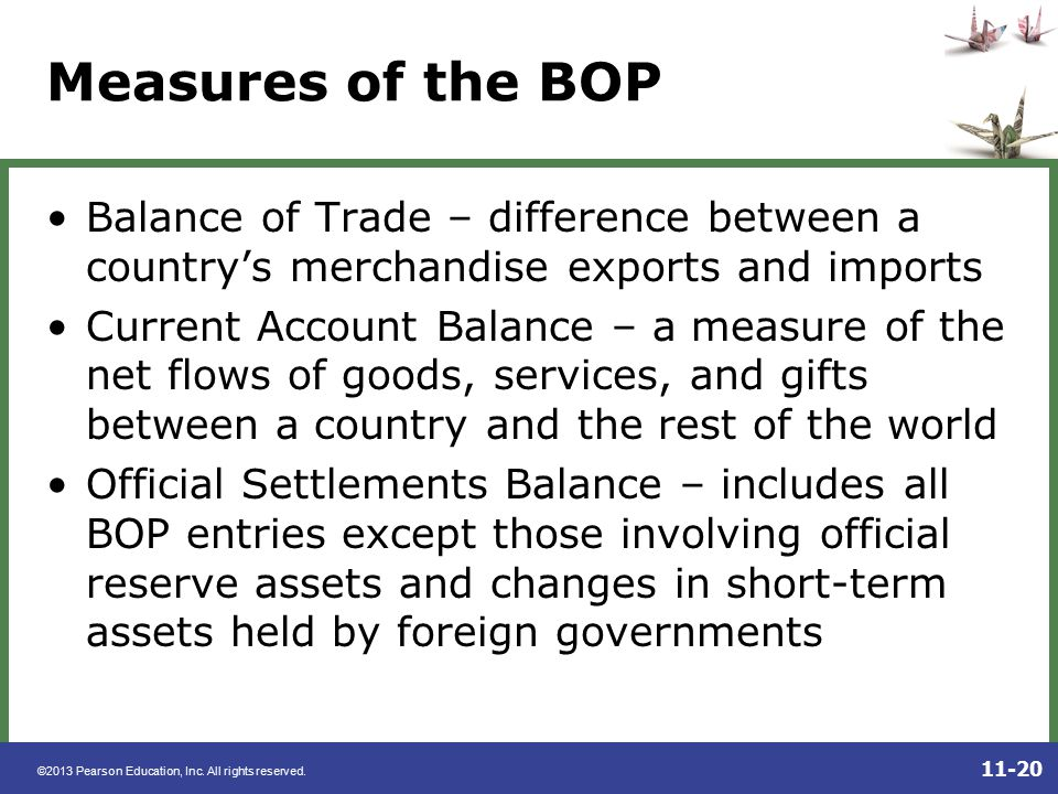 Measures of the BOP Balance of Trade – difference between a country's merchandise exports and imports.