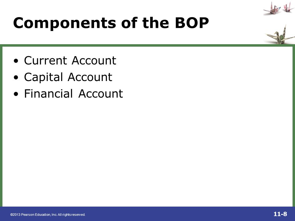 Components of the BOP Current Account Capital Account