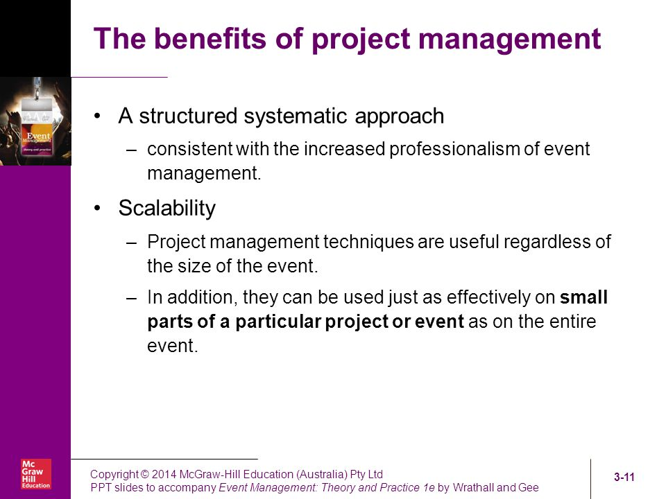 benefits of project management To take advantage of scrum benefits,  project management 10 key benefits of  self-management puts decisions that would normally be made by a manager or the.