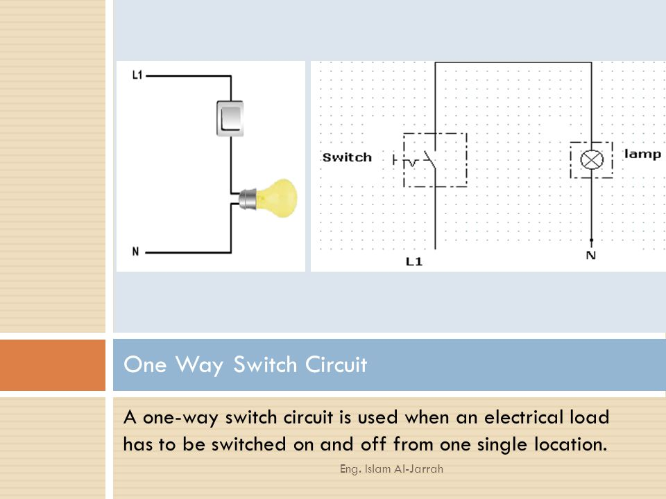 One Way Switch Circuit A one-way switch circuit is used when an electrical load has to be switched on and off from one single location.