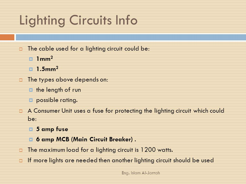 Lighting Circuits Info