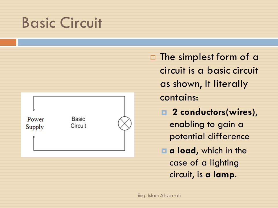 Basic Circuit The simplest form of a circuit is a basic circuit as shown, It literally contains: