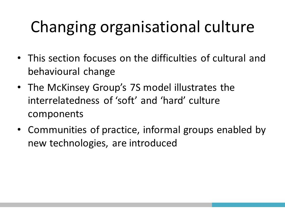 organisational culture change essay Our intention in producing this collection of essays is not to rehearse the valuable analyses that have been produced by these organisations, but to shed light on the utility of employing occupational psychology evidence and expertise when embarking on the practical implementation of nhs culture.