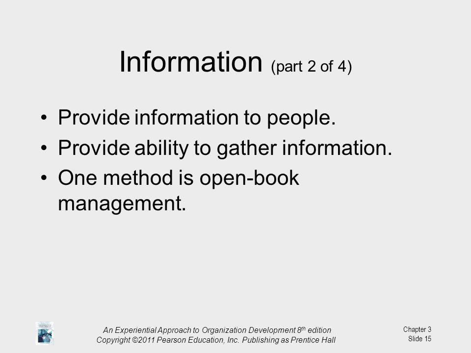 Information (part 2 of 4) Provide information to people.
