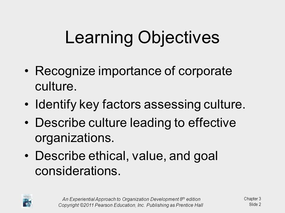 Learning Objectives Recognize importance of corporate culture.
