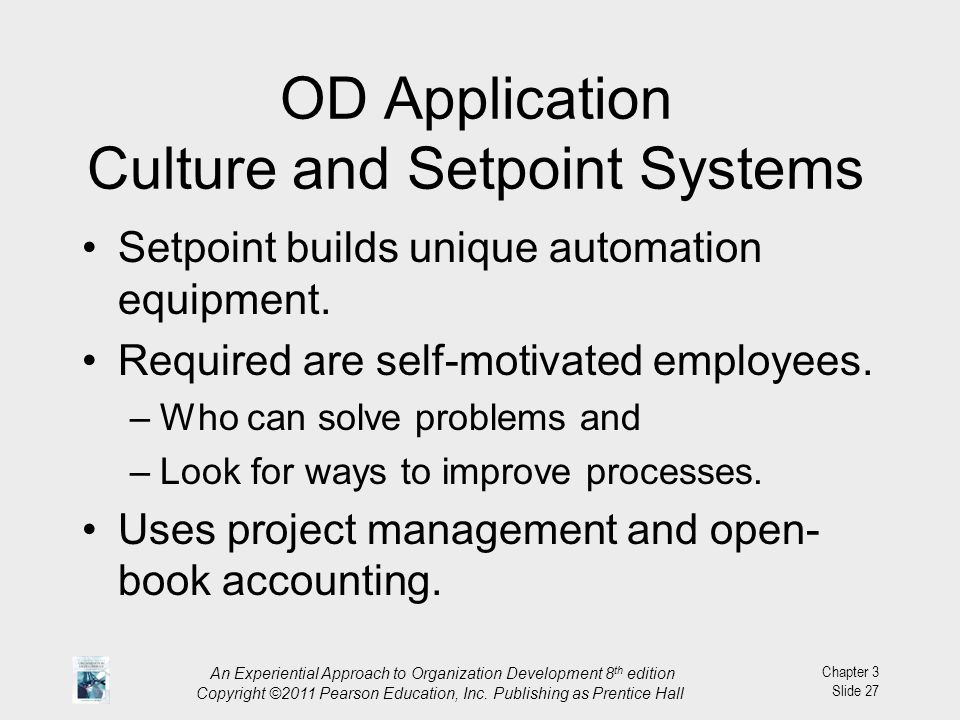 OD Application Culture and Setpoint Systems