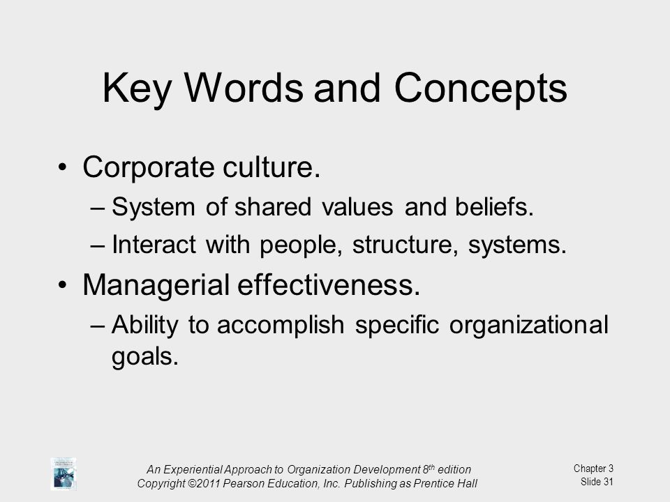 Key Words and Concepts Corporate culture. Managerial effectiveness.