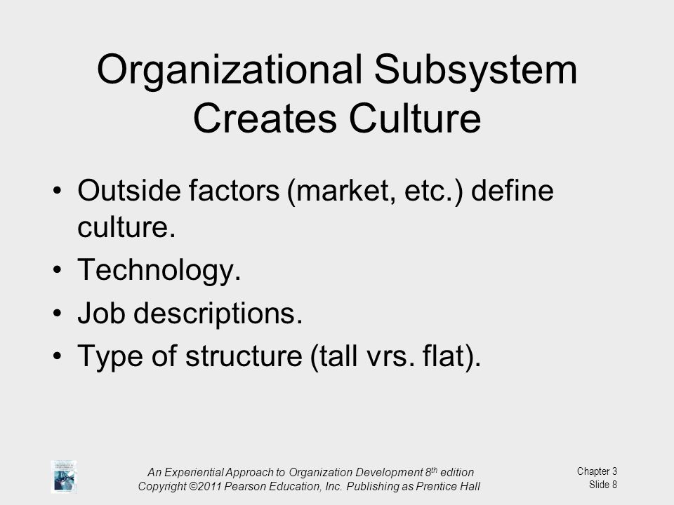 Organizational Subsystem Creates Culture