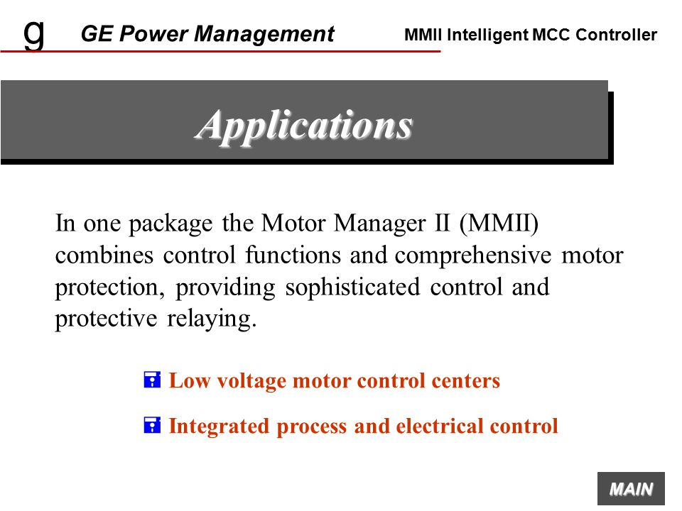 g ge power management mmii intelligent mcc controller ppt g ge power management mmii intelligent mcc controller applications