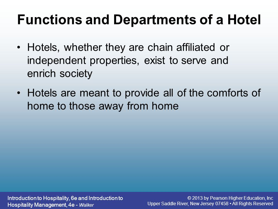 What are the departments in a hotel?
