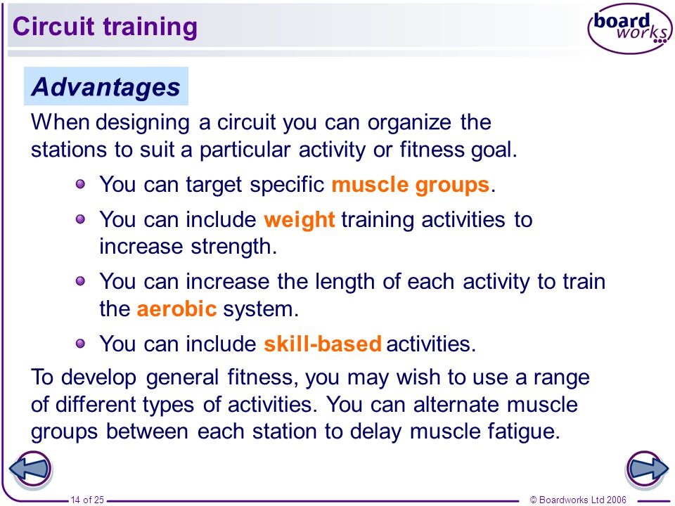 weight training advantages of circuit training The best way to build muscle tone and definition is to combine aerobic and flexibility exercises with the right kind of strength training [skip to or body weight squats) for strength training many people tend to lump all types many schools offer weight or circuit training as units.