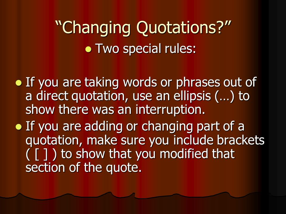 Changing Quotations