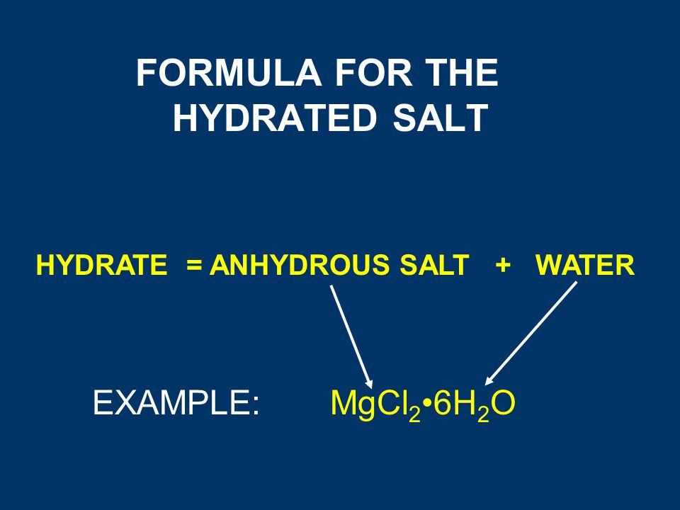 experiemtn 5 hydrate salt Experiment 5: percent water in a hydrated salt chemistry 1300 instructor: 2/8/12 abstract: the purpose of this experiment was to determine the percent by mass in a hydrated salt, as well as to learn to handle laboratory apparatus without touching it.
