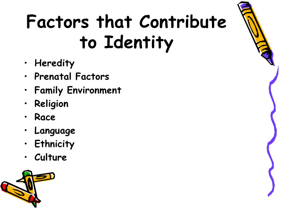the six factors that influence an individuals identity Get an answer for 'what factors influence culturewhat are the if a people is in one factor that influences culture can be national identity.