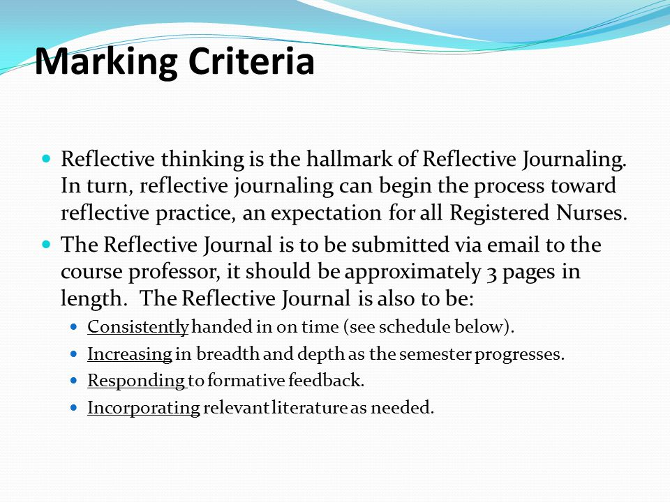 reflective writing journal