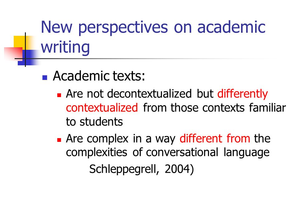 New perspectives on academic writing
