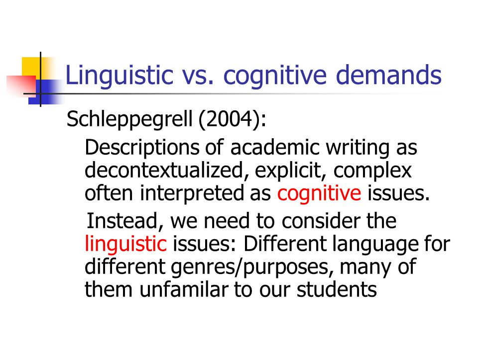 Linguistic vs. cognitive demands