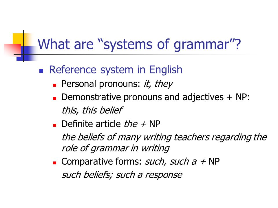What are systems of grammar