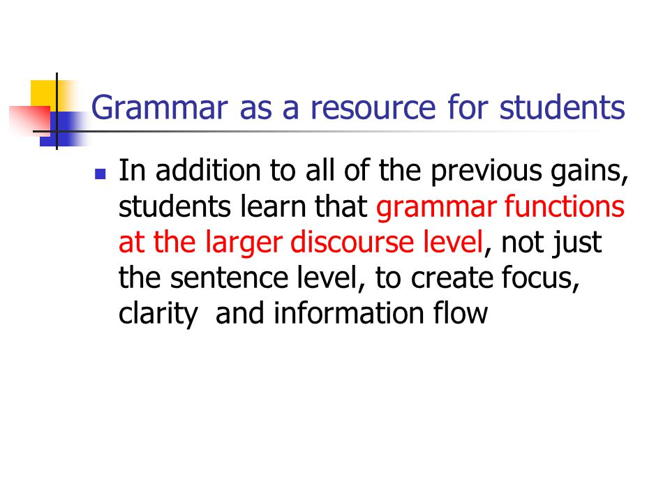 Grammar as a resource for students