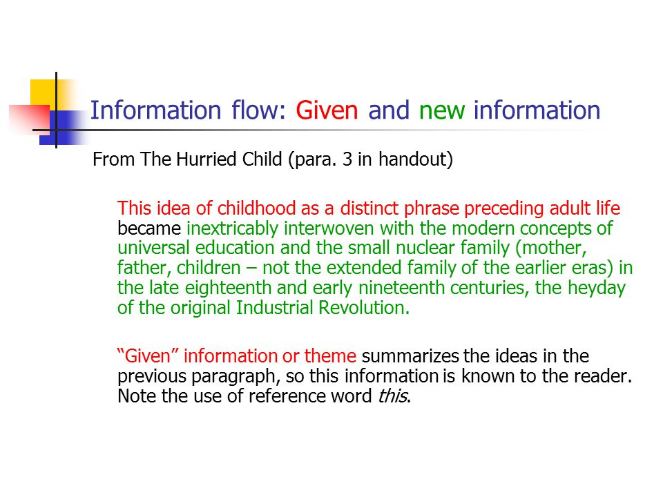 Information flow: Given and new information