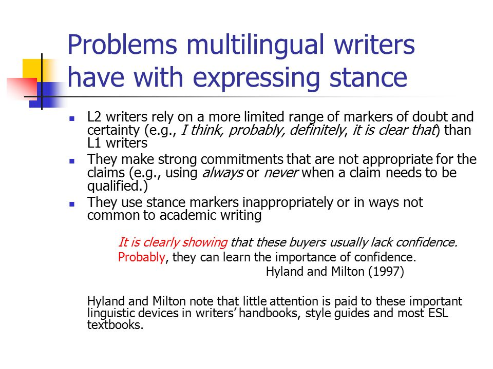 Problems multilingual writers have with expressing stance