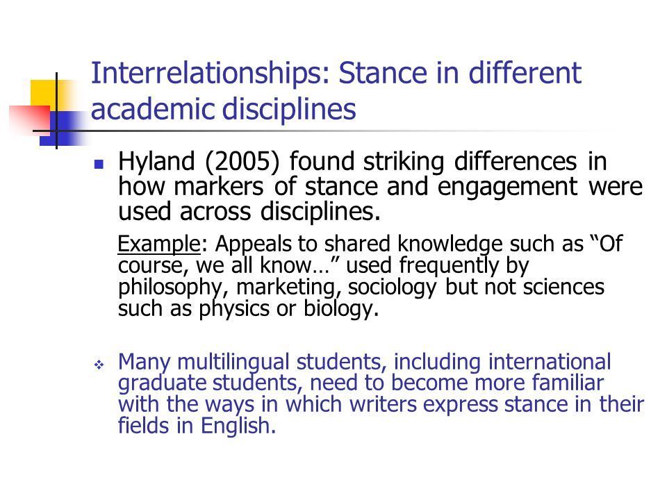 Interrelationships: Stance in different academic disciplines