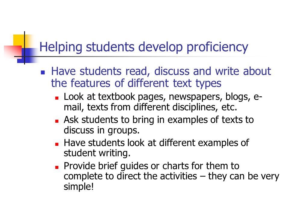 Helping students develop proficiency