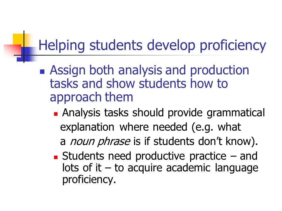 Helping students develop proficiency