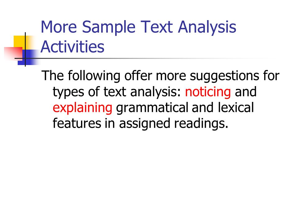 More Sample Text Analysis Activities