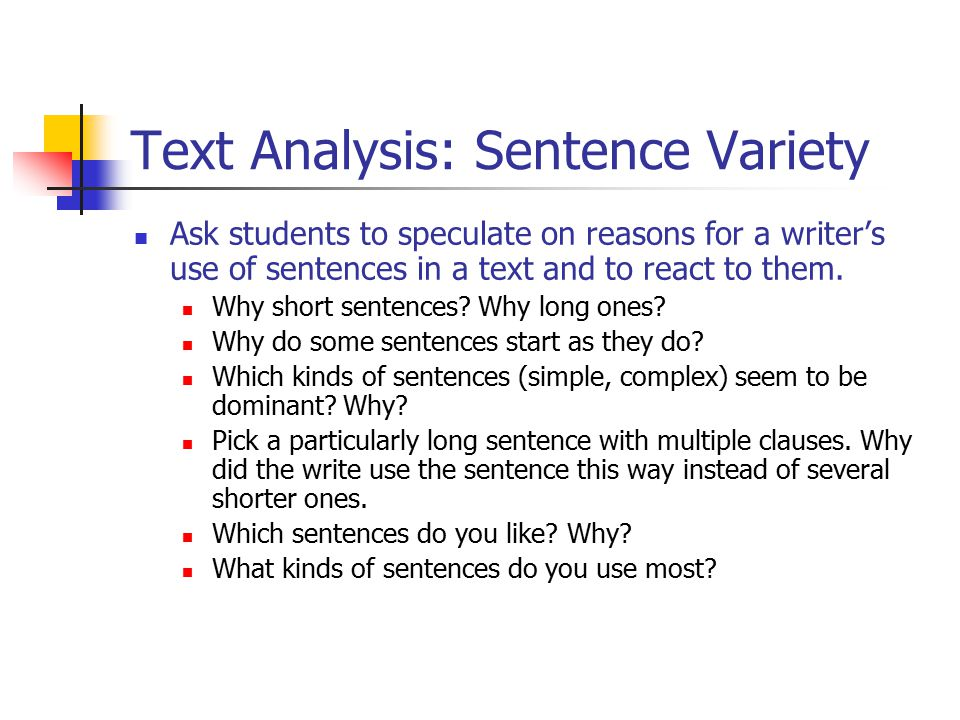 Text Analysis: Sentence Variety