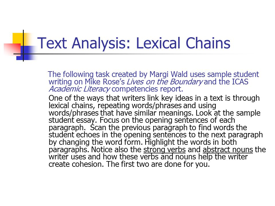 Text Analysis: Lexical Chains