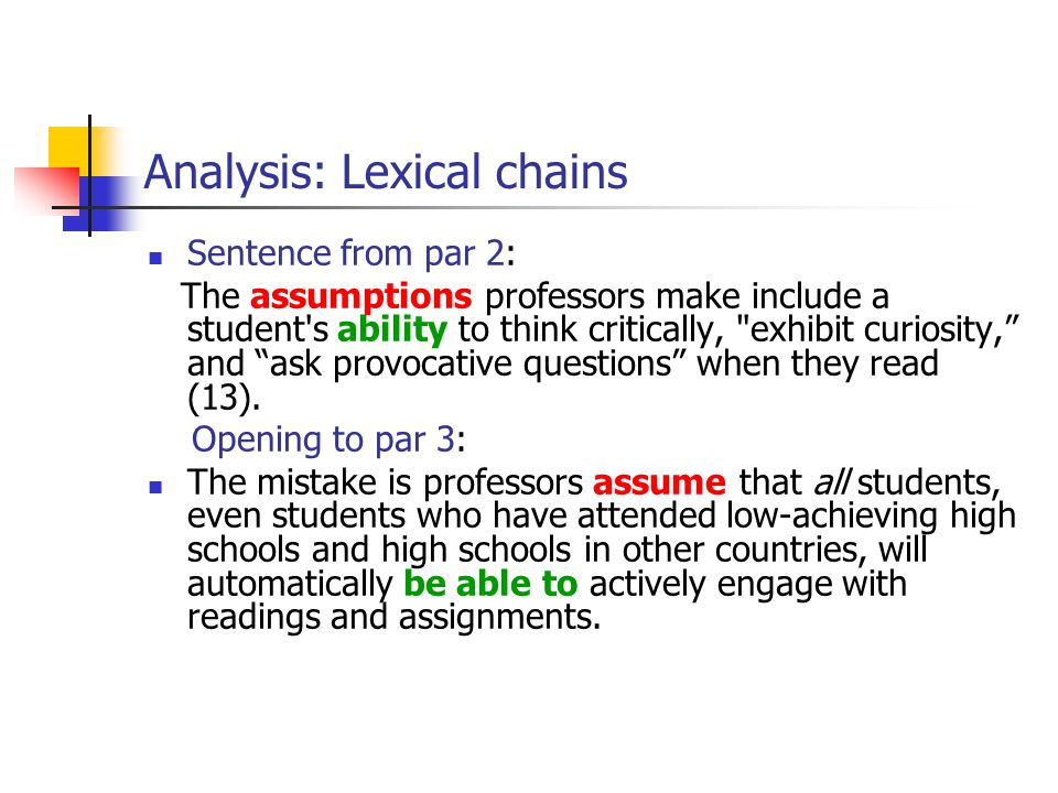 Analysis: Lexical chains