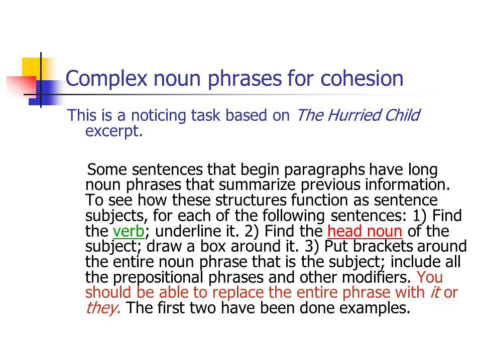 Complex noun phrases for cohesion