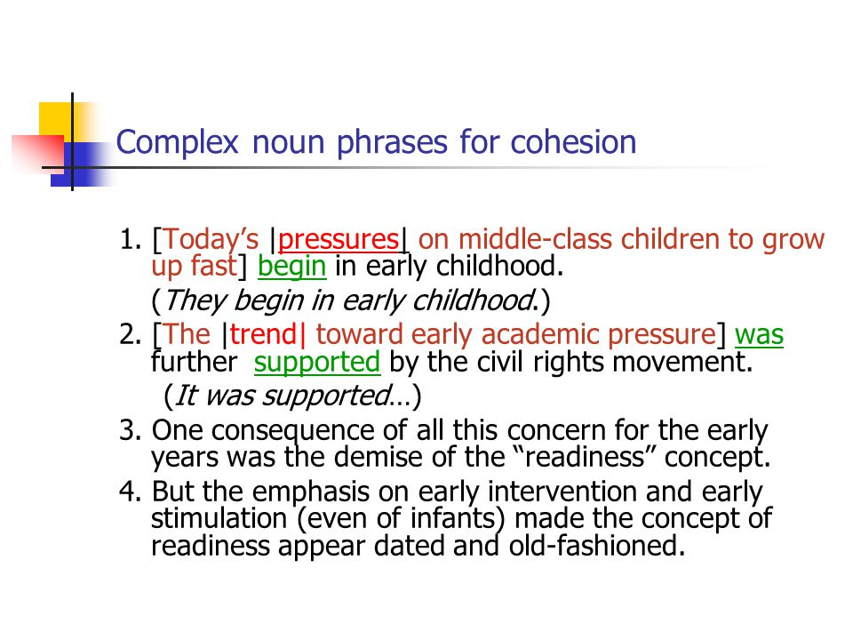 Complex noun phrases for cohesion
