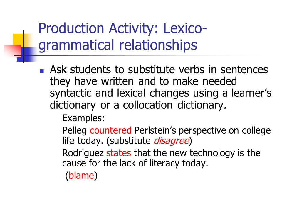Production Activity: Lexico-grammatical relationships