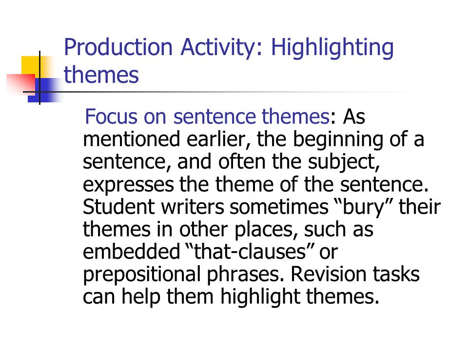 Production Activity: Highlighting themes